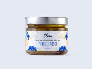 Petali sott'olio di cipolla dolce Clara con mirtilli rossi